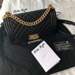 Chanel Black Calfskin Medium Boy Bag
